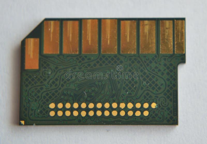 宏观SD卡片数据存储芯片电路板 免版税库存图片