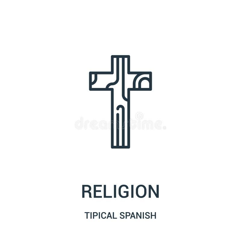 宗教从tipical西班牙收藏的象传染媒介 稀薄的线宗教概述象传染媒介例证 线性标志为使用 向量例证