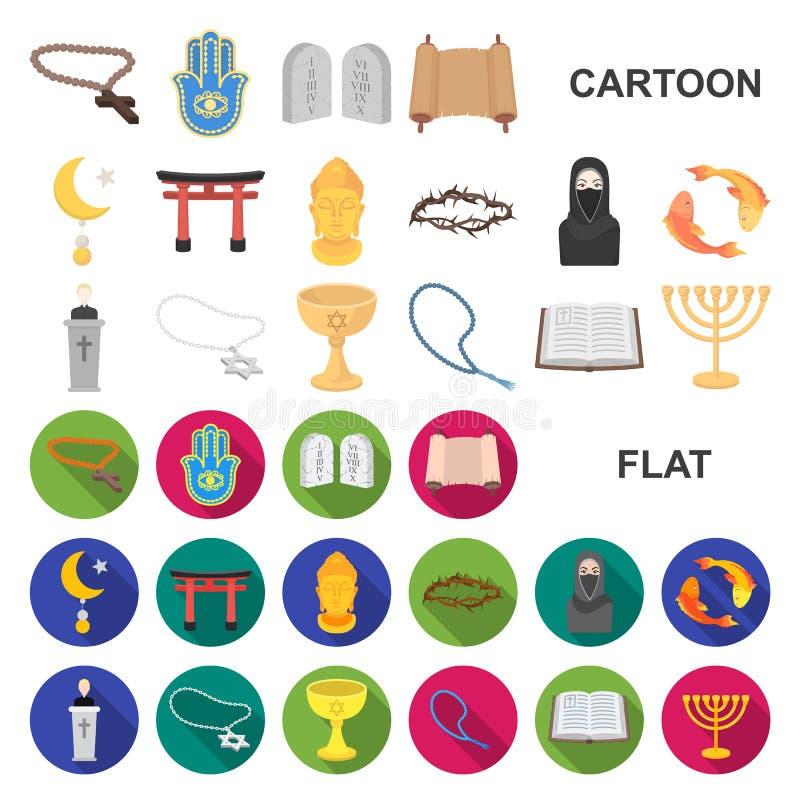 宗教和信仰在集合汇集的动画片象的设计 辅助部件,祷告传染媒介标志股票网例证 库存例证