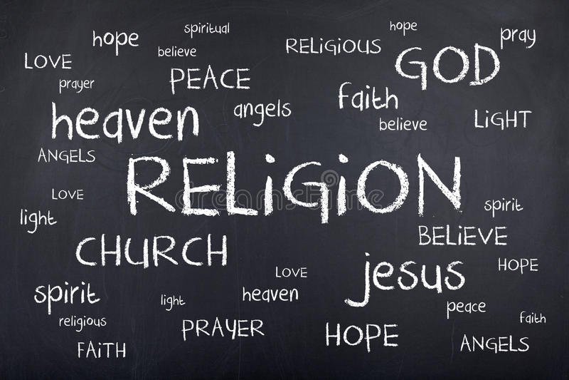 宗教在黑板的词云彩 向量例证