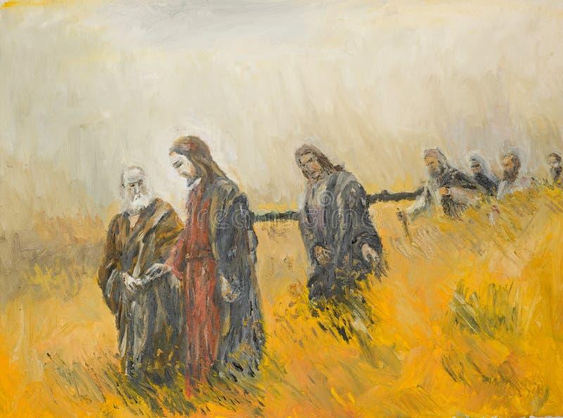 宗教场面、基督和他的门徒 向量例证