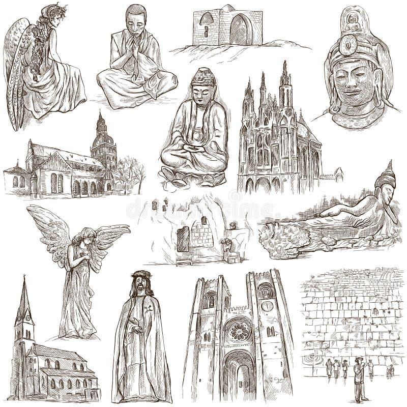 宗教环球-手拉的收藏 向量例证