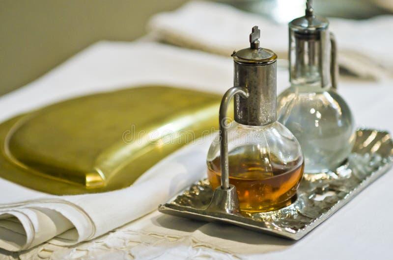 宗教的标志:面包和酒 库存图片