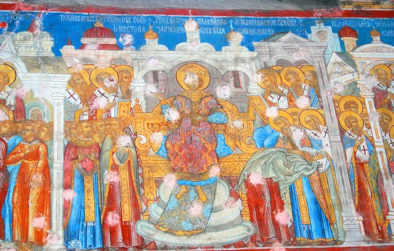 宗教老绘画 圣徒尼古拉斯教会在雅罗斯拉夫尔市,俄罗斯 库存例证