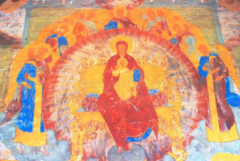 宗教老绘画 圣徒尼古拉斯教会在雅罗斯拉夫尔市,俄罗斯 向量例证