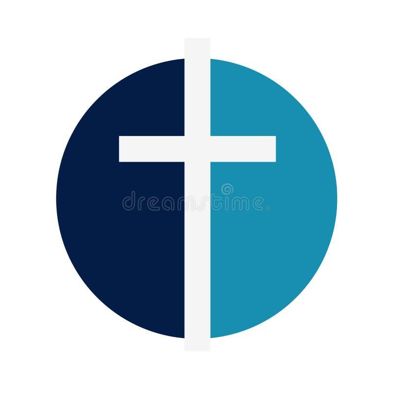 宗教 耶稣受难象,在a的一个十字架的标志 向量例证