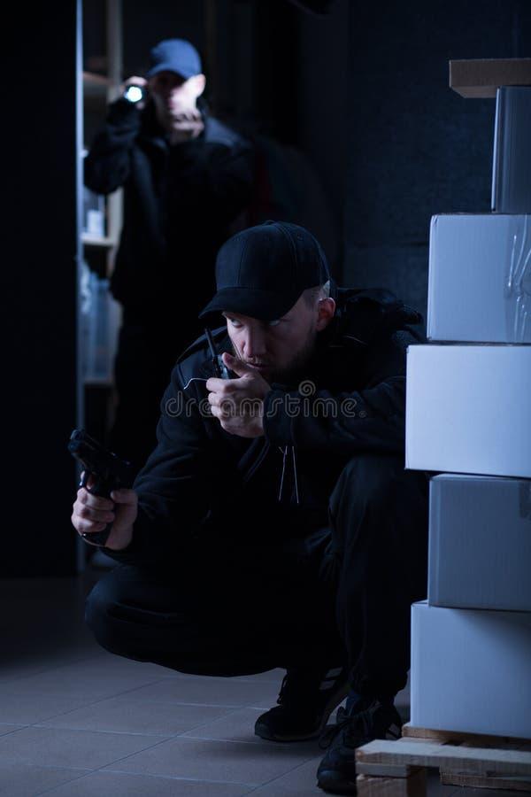 官员在危险警察干预时 库存图片