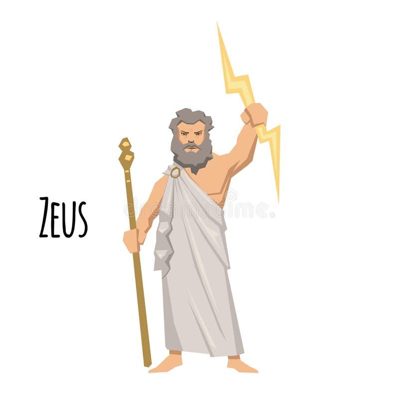 宙斯、神的父亲和人,天空古希腊神  神话 平的传染媒介例证 查出在白色 库存例证
