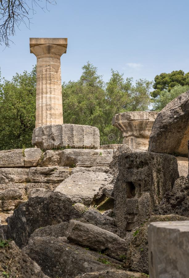 宙斯倒塌的寺庙在第一奥林匹克的站点的在奥林匹亚的在希腊 库存图片