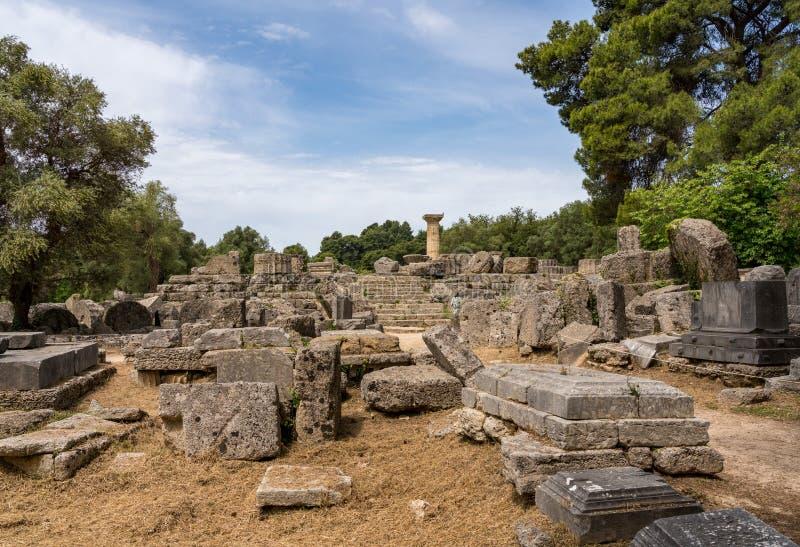 宙斯倒塌的寺庙在第一奥林匹克的站点的在奥林匹亚的在希腊 库存照片