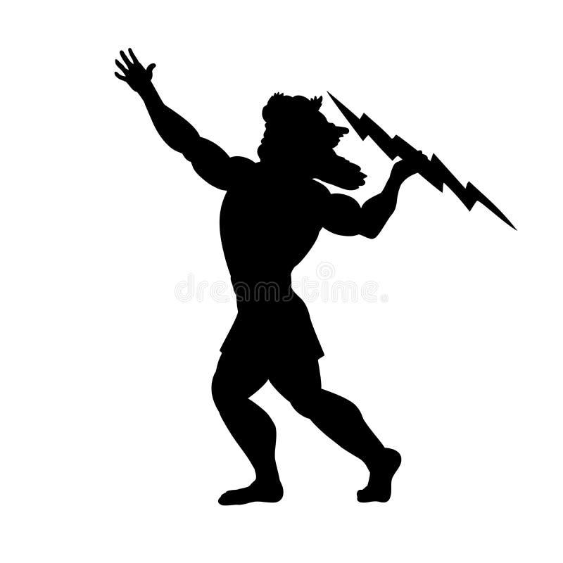 宙斯木星神剪影古老神话幻想 库存例证