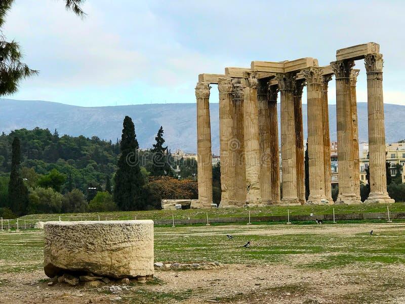 宙斯,雅典寺庙  库存照片