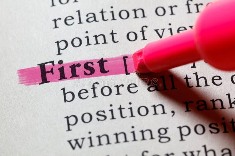 定义首先 免版税库存图片