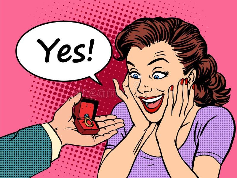 定婚戒指婚礼新娘提议手和心脏爱礼物 向量例证