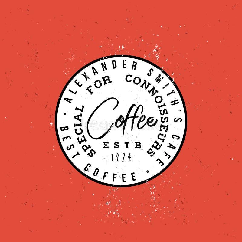 鉴定家葡萄酒圆的标签的咖啡专辑 库存例证