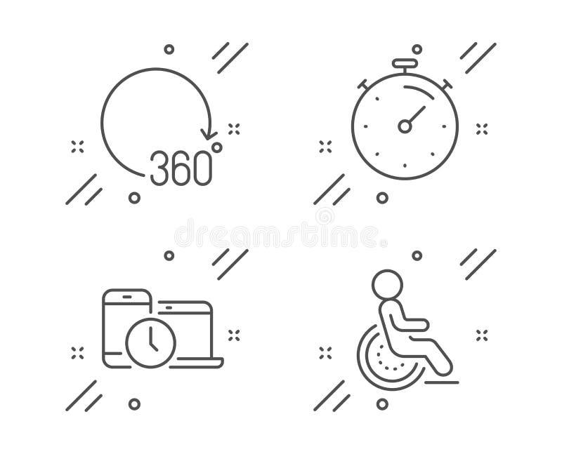 计时器、360度和时间管理图标设置 残疾标志 矢量 向量例证