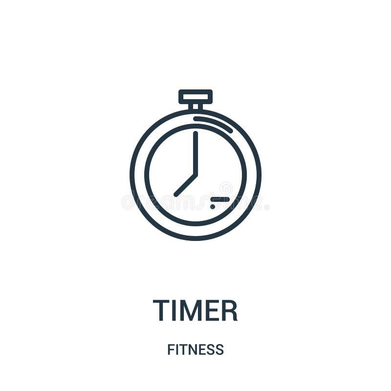 定时器从健身汇集的象传染媒介 稀薄的线定时器概述象传染媒介例证 线性标志为在网的使用和 向量例证