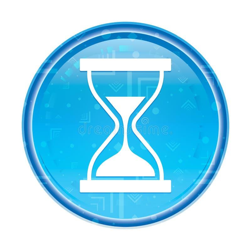 定时器沙子滴漏象花卉蓝色圆的按钮 库存例证