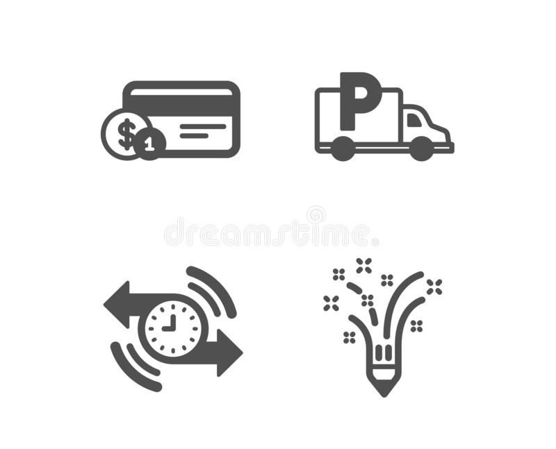 定时器,付款方法和卡车停放的象 启发标志 ?? 库存例证