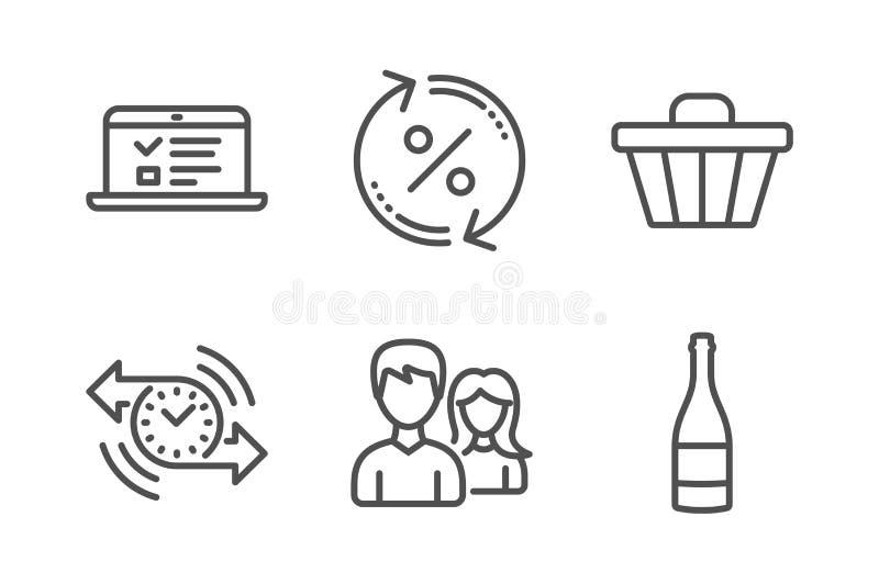 定时器,网演讲和夫妇象集合 贷款百分之、商店推车和香宾瓶标志 ?? 向量例证