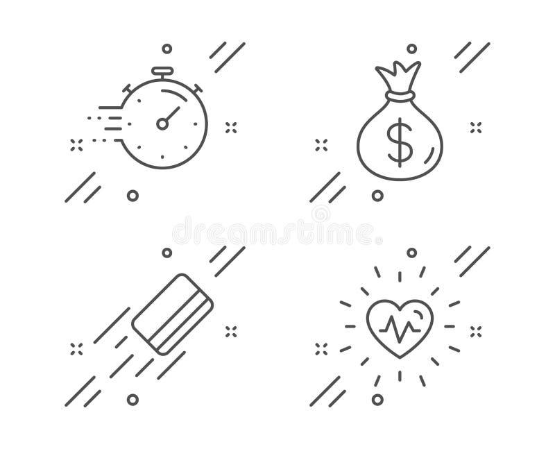定时器,金钱袋子和信用卡象集合 心跳标志 最后期限管理,Usd货币,银行付款 ?? 向量例证