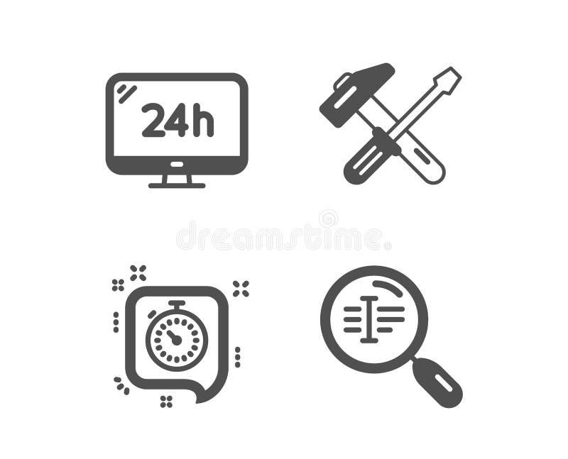 定时器,锤子工具和24h服务象 查寻文本标志 时间管理,修理螺丝刀,电话支持 ?? 库存例证