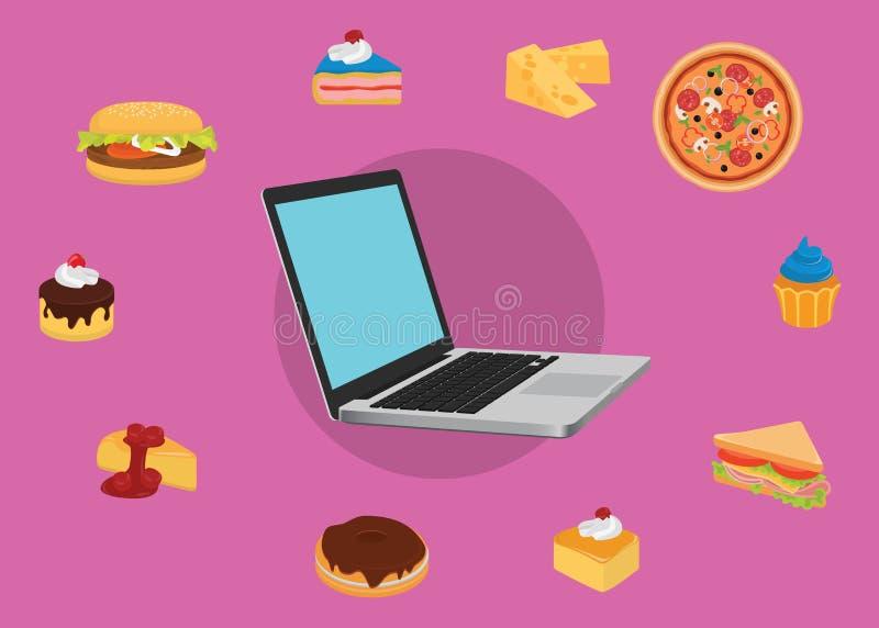 定购网上食物用户便携式计算机用各种各样的食物 库存例证