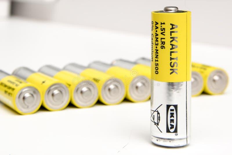 宜家alkalisk碱性电池AAA大小 库存图片