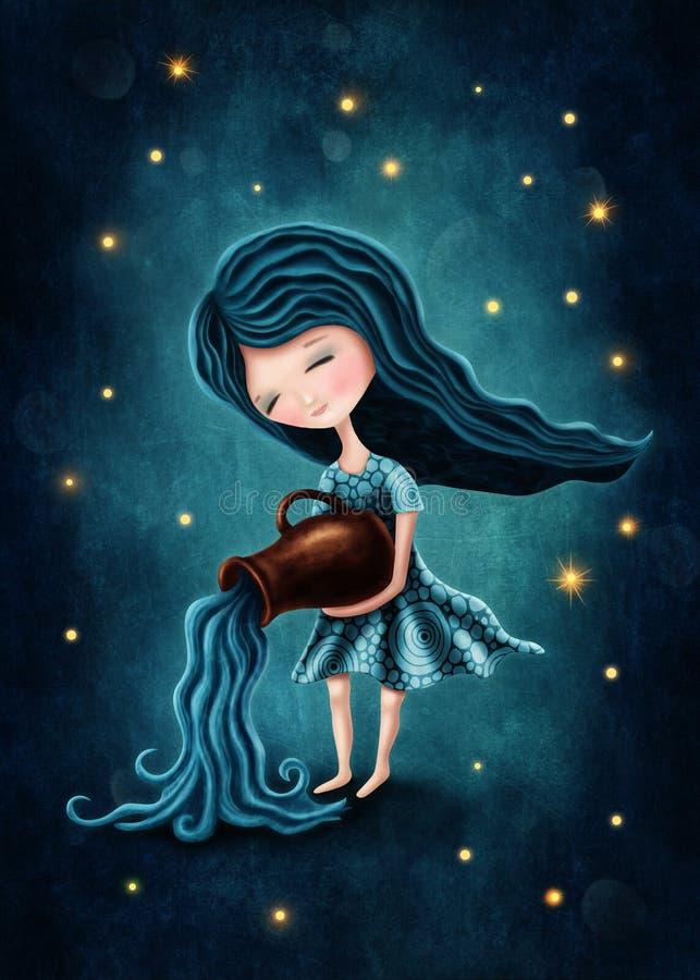 宝瓶星座占星术标志女孩 向量例证
