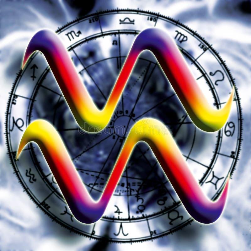 宝瓶星座占星术符号 向量例证