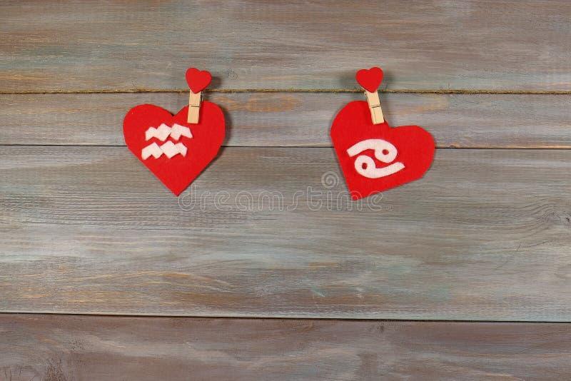 宝瓶星座和癌症 黄道十二宫和心脏 木backg 免版税库存照片