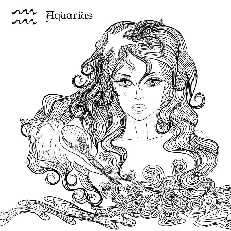 宝瓶星座的占星术标志作为一个美丽的女孩的 皇族释放例证
