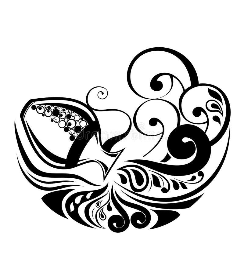 宝瓶星座设计符号纹身花刺黄道带 皇族释放例证