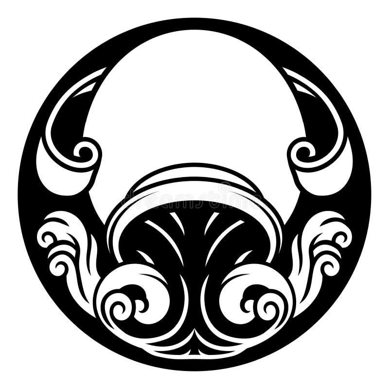 宝瓶星座黄道带占星标志 向量例证