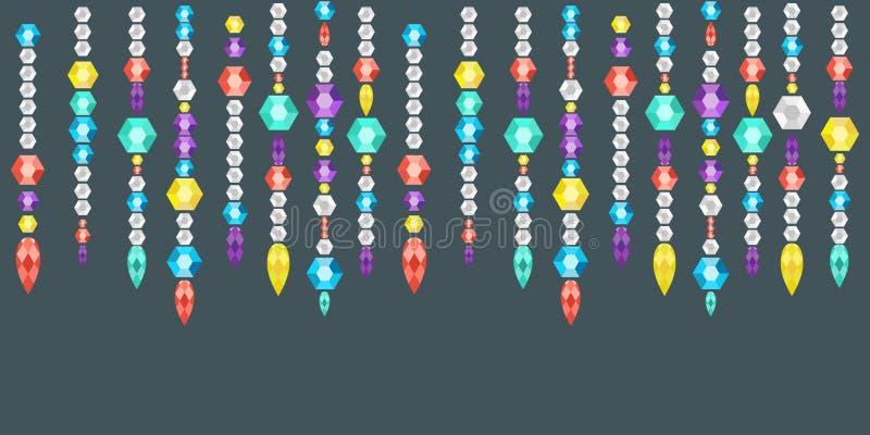 从宝石、水晶和deamonds,在串的宝石的装饰诗歌选 向量例证