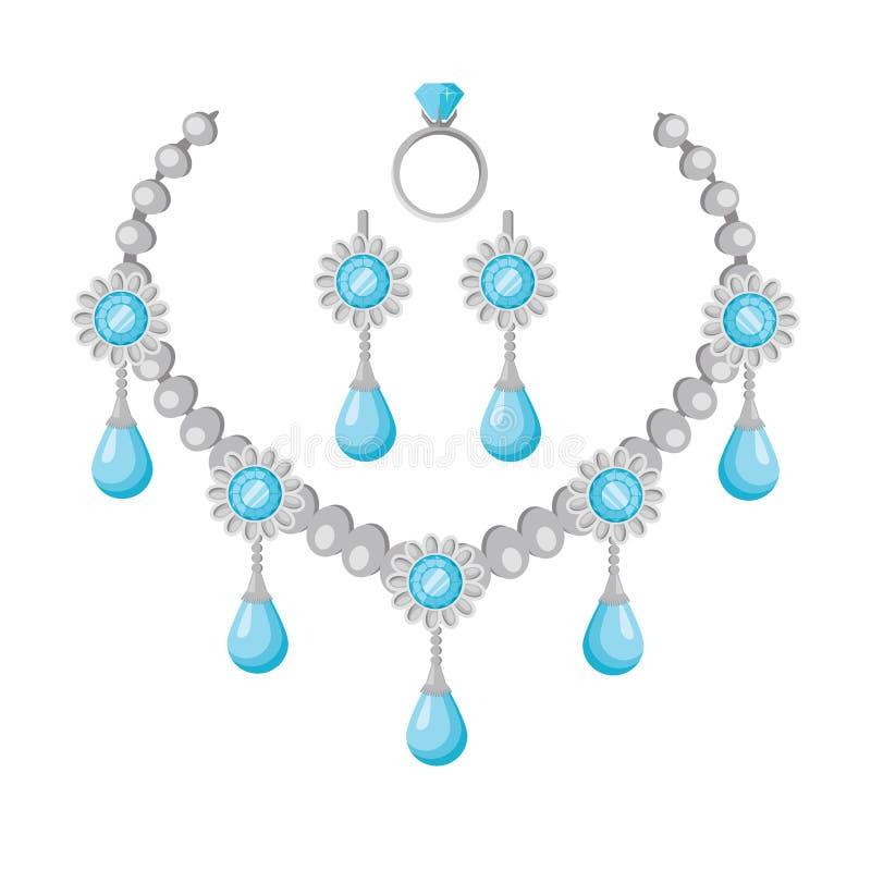 宝石传染媒介项链在平的设计的 皇族释放例证