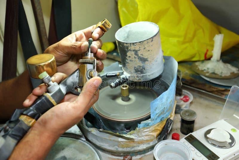 宝石切口商店在Ratnapura,斯里兰卡 库存照片