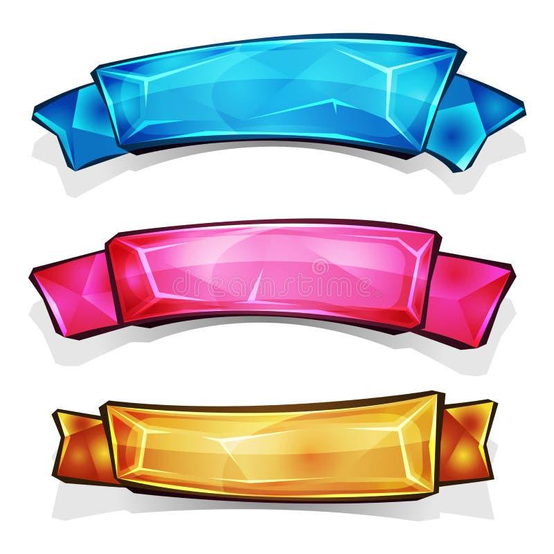 宝石和金刚石横幅和丝带 向量例证