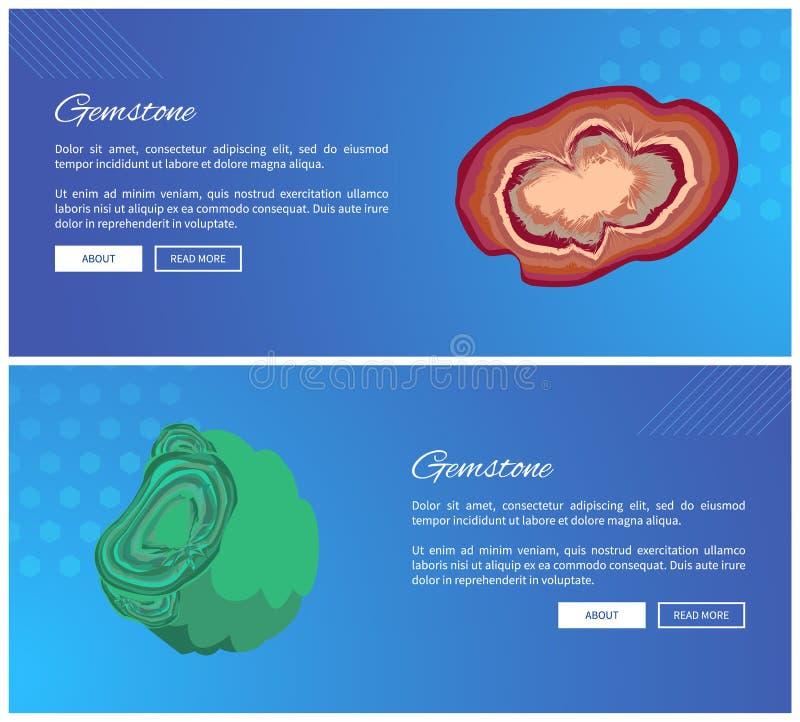 宝石玛瑙和绿沸铜氢氧化矿物 向量例证