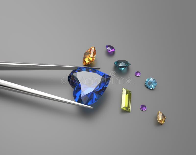 宝石的收集 3d例证 库存照片
