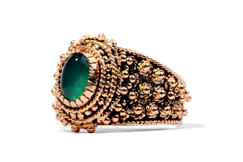 宝石金黄绿色珍贵的环形 库存照片