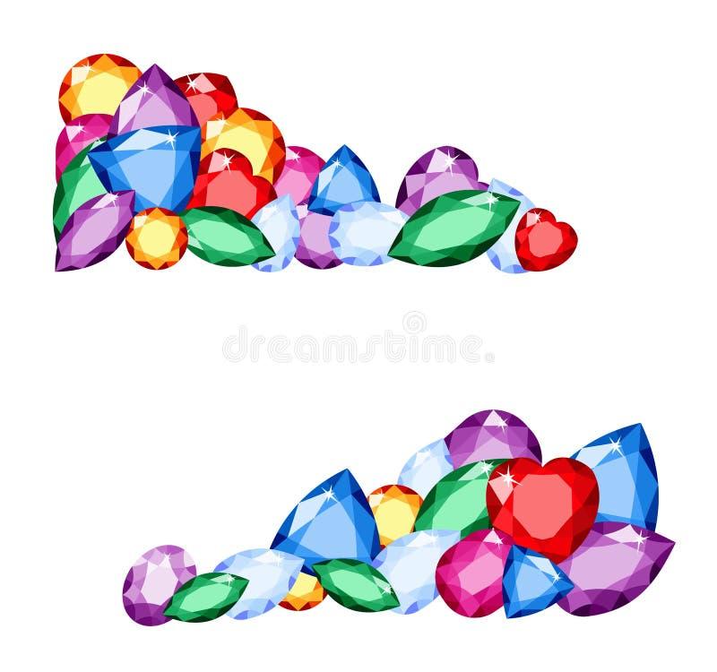 宝石 不同的宝石的五颜六色的收藏与空间的在白色背景紫晶、柠檬色、红宝石和黄玉的文本的 向量 皇族释放例证