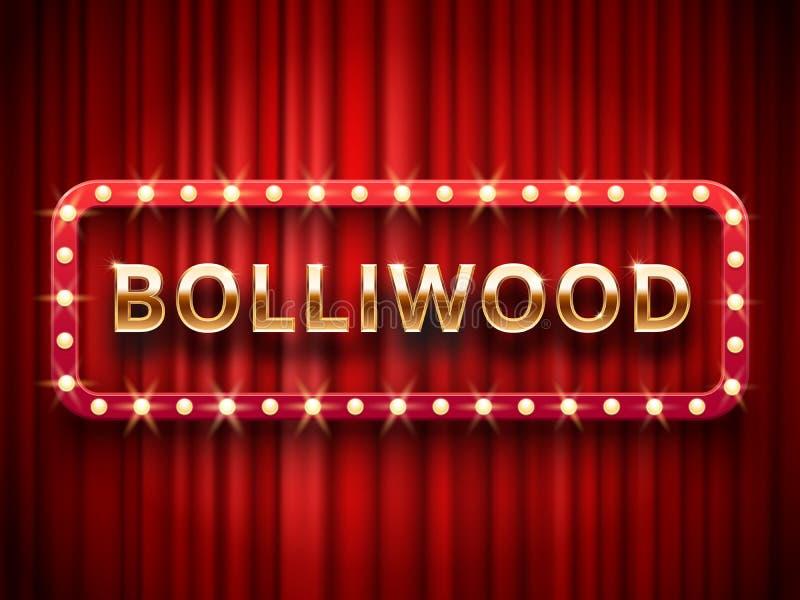 宝莱坞戏院 葡萄酒印地安电影、摄影和剧院海报 在红色的减速火箭的3d经典影片海报商标 库存例证