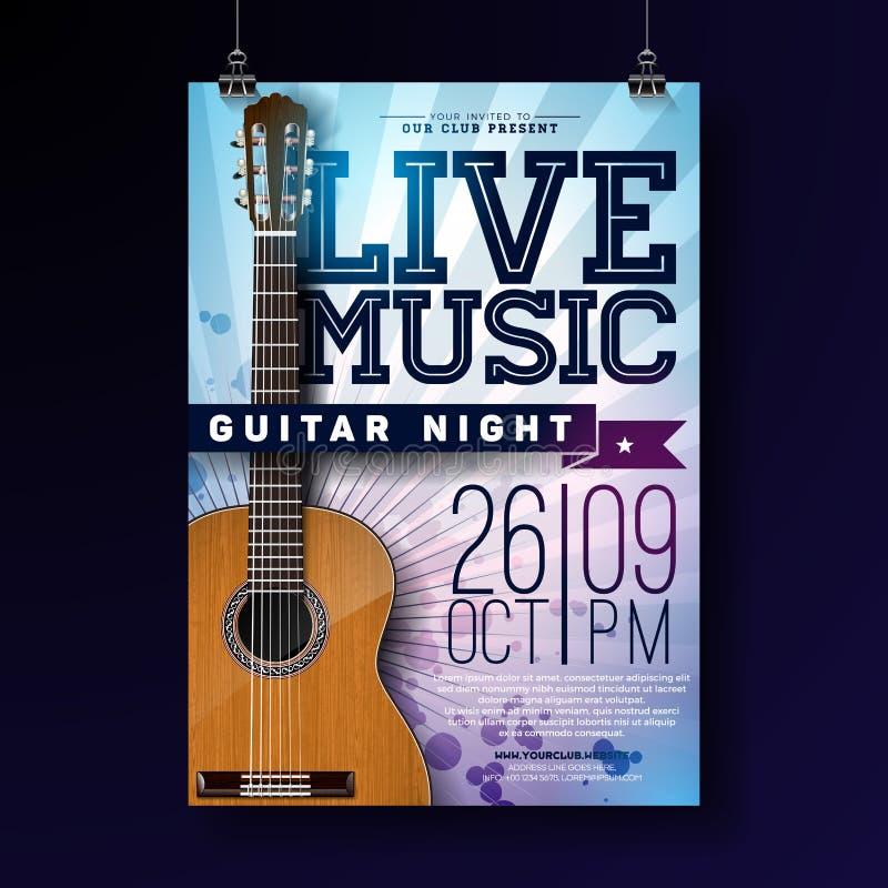 实况音乐与声学吉他的飞行物设计在难看的东西背景 传染媒介邀请海报的例证模板 向量例证