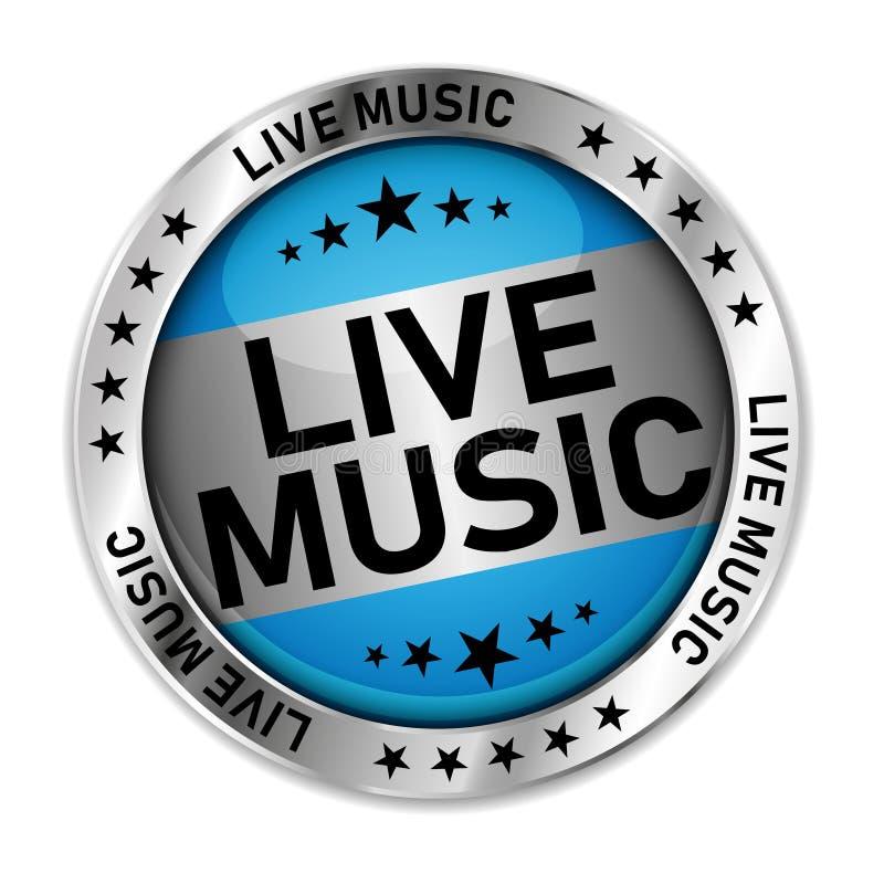 实况音乐传染媒介光滑的银色网按钮隔绝了 库存例证
