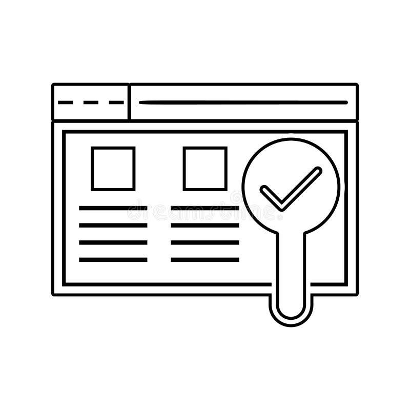 实用性测试象 网络安全的元素流动概念和网应用程序象的 网站设计的稀薄的线象和 库存例证