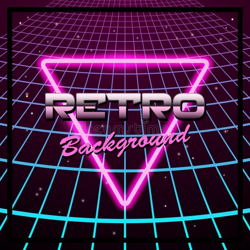实线与霓虹三角的牙logoAbstract 80s减速火箭的背景 向量例证