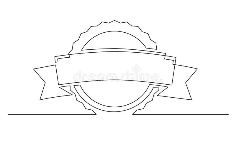 实线丝带得奖的标签设计图画  向量例证