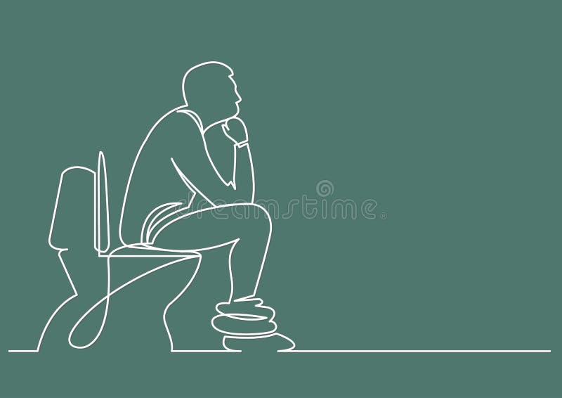 实线人图画坐马桶座认为 库存例证