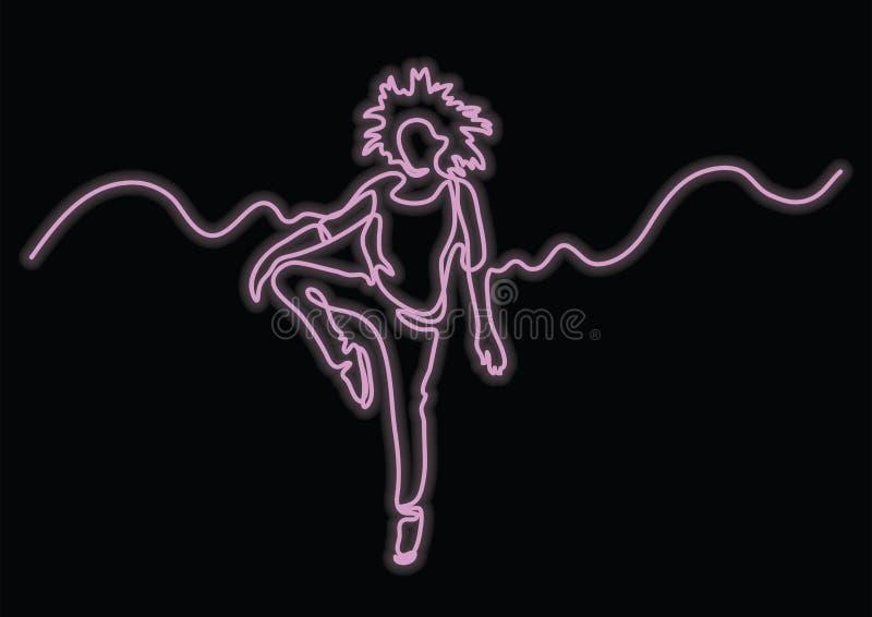 实线传神愉快的妇女跳舞图画与霓虹传染媒介作用的 向量例证